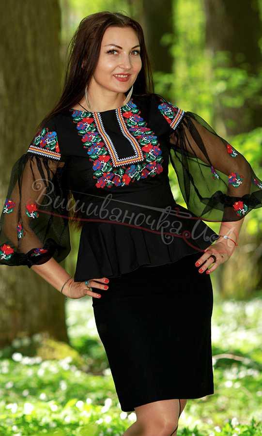 Дизайнерська жіноча сорочка вишиванка Ч 7101 купити в інтернет-магазині 71fb899309760