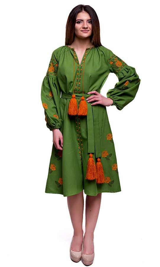 066f7fe344762d Оригінальна вишита сукня зеленого кольору SL09 купити в інтернет ...
