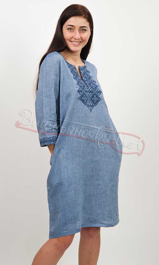Женское платье вышиванка на льне 5495 de2679f510eb1