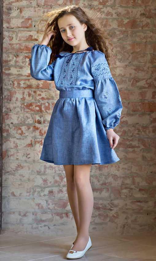 6d59f547df3c18 Плаття для дівчинки з джинсового льону 9901 купити в інтернет-магазині