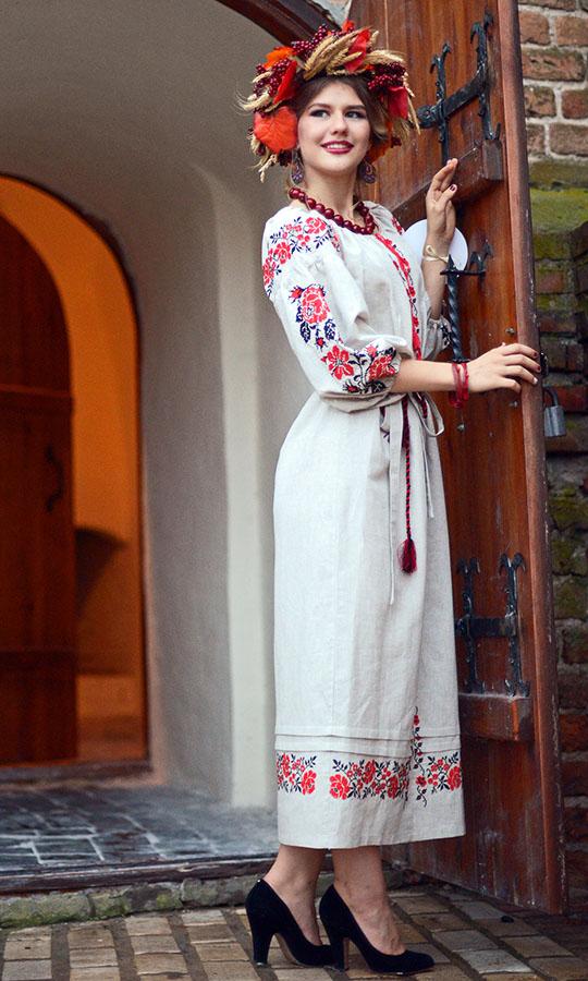 3ef8f8bd0f9624 Вишите плаття з льону з традиційною українською вишивкою 7203 купити ...