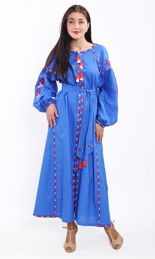 Стильне синє плаття з контрастною вишивкою 7233 купити в інтернет ... 8eef1ba920fe7