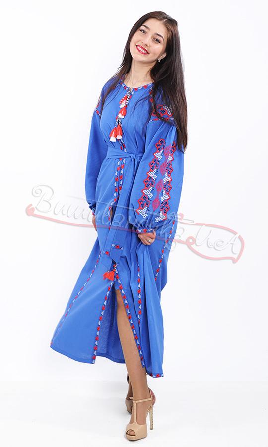 Стильне синє плаття з контрастною вишивкою 7233 - фото 5 vishivano4ka.com.ua 106ced2fedce9