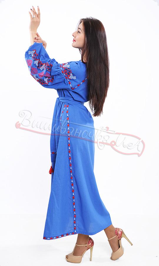 Стильне синє плаття з контрастною вишивкою 7233 - фото 6 vishivano4ka.com.ua 9e1456862b643