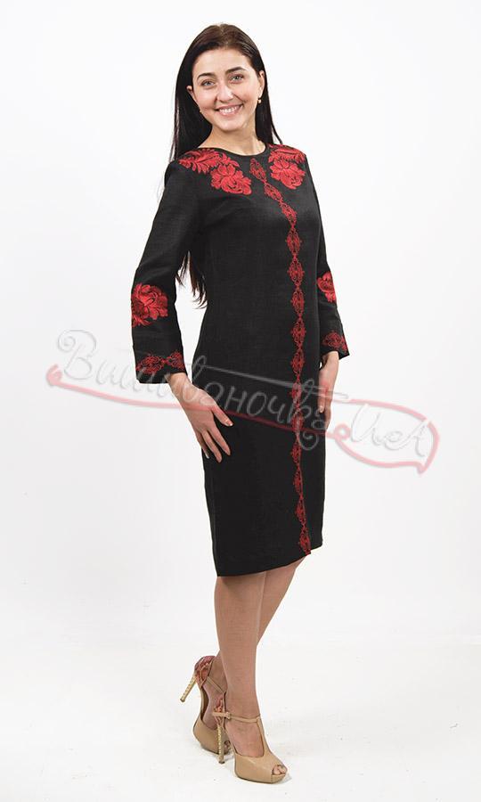 9ca5557eae5f14 Елегантне чорне плаття з червоною вишивкою 7226 купити в інтернет ...