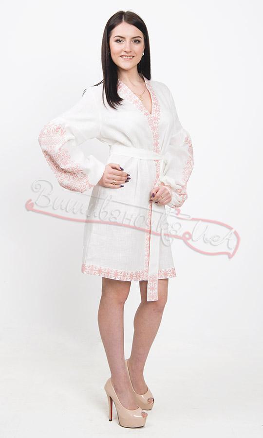 313060c26d6d2e Прекрасне біле плаття з рослинним орнаментом 7244 купити в інтернет ...
