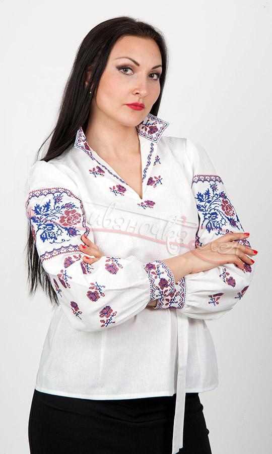 Жіноча сорочка з вишивкою троянд 7040 купити в інтернет-магазині 22325ff986be5