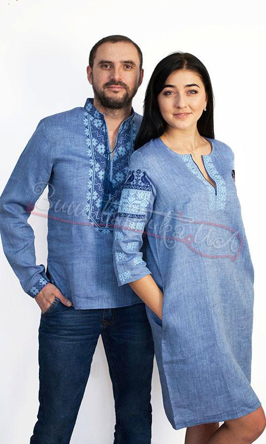 Парний комплект з льону під колір джинсу 7285 купити в інтернет-магазині 8ee45b8f5ff13