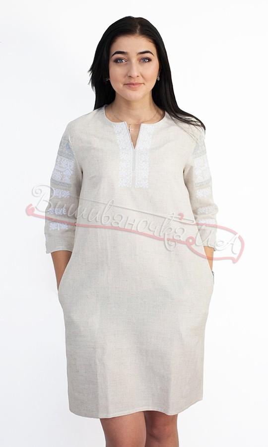 Плаття сірого кольору з вишивкою птахів 5481 5d3d600ed5fad