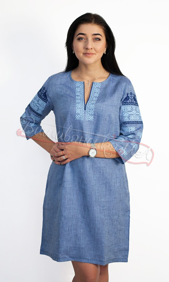 Лляне плаття з вишивкою птахів 5484 9aeae109fb233