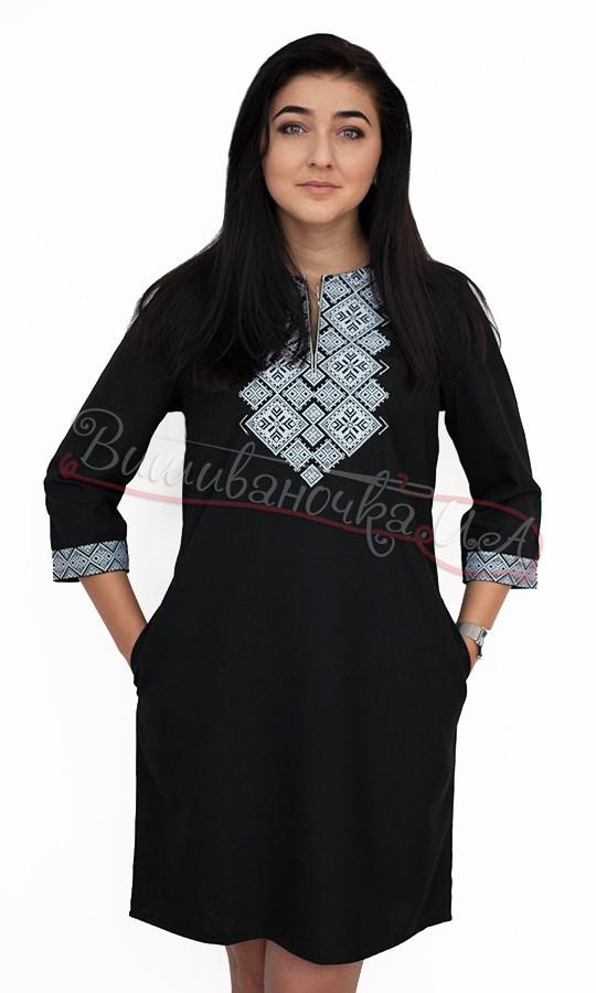 Чорне плаття з геометричною вишивкою 5499 купити в інтернет-магазині f09a4b4787f74