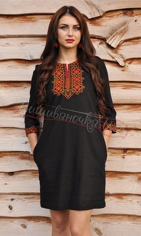 Чорне плаття з червоно-оранжевою вишивкою П07 купити в інтернет-магазині 609949224bc65