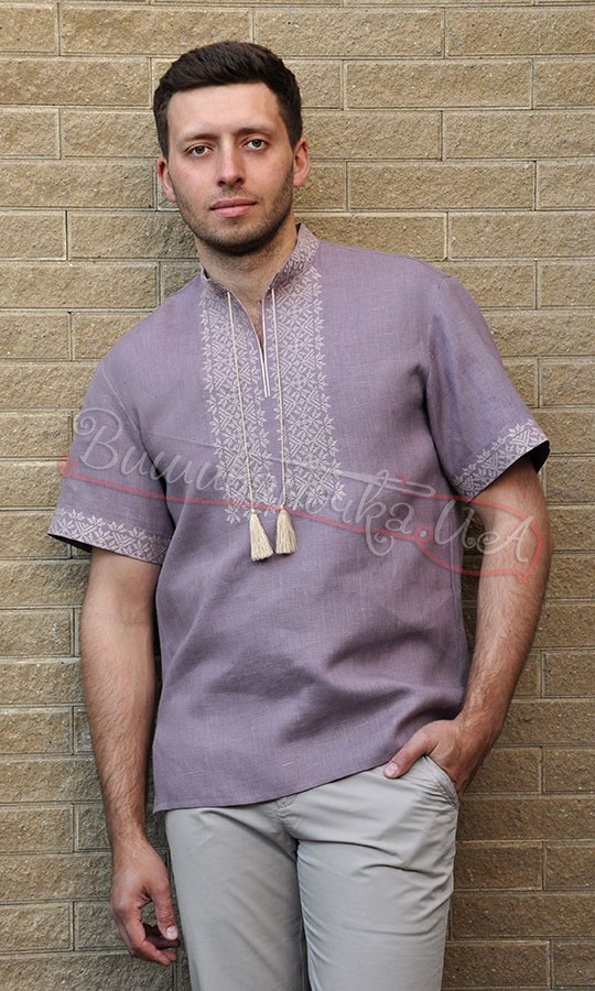 Мужская вышиванка с коротким рукавом из льна М08 купити в інтернет ... f124cd8cd8d99