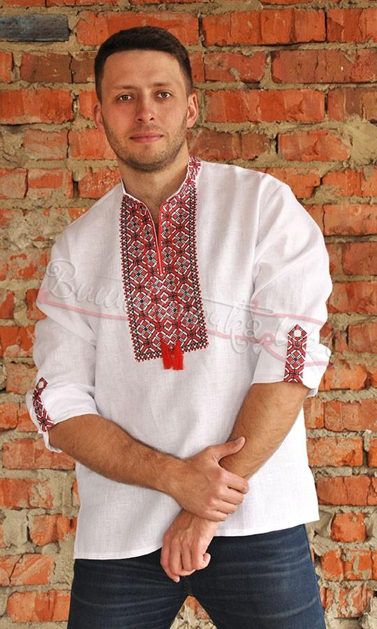 d0524be8f0b224a Рубашка с красно-черной вышивкой с длинным рукавом М04 купить в ...