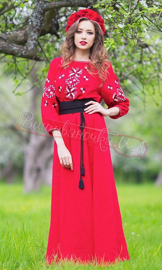 Червоне довге плаття з льону П26 купити в інтернет-магазині 39b1e557a7329