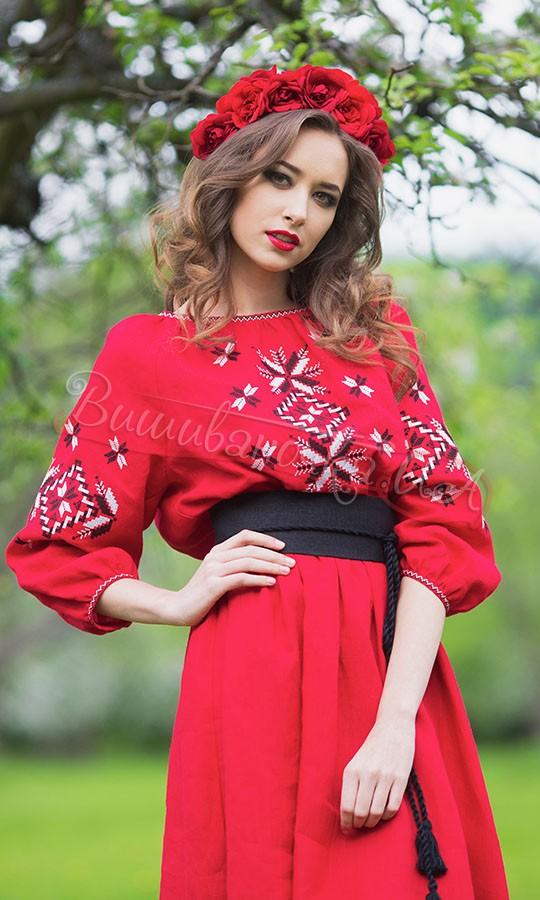 Червоне довге плаття з льону П26 - фото 2 vishivano4ka.com.ua 595dd8bc362b1