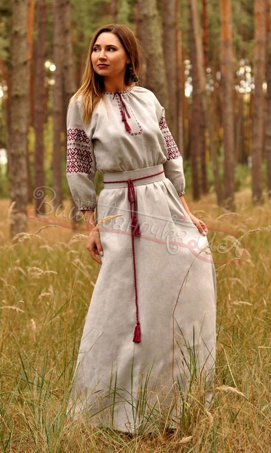 Довге плаття з сірого льону П35 купити в інтернет-магазині 27ff0d3c98003