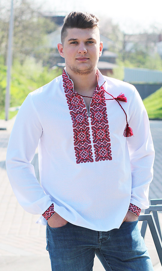 Чоловіча вишиванка з червоним або синім кольором 3349 - фото 2  vishivano4ka.com.ua 9e1824af067c5